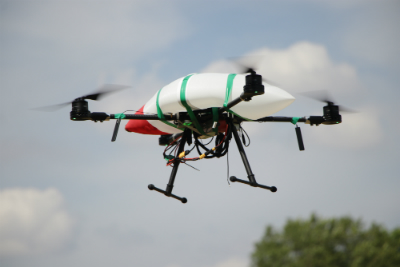 The figure shows an example of using a drone to conduct geo-referenced ground survey